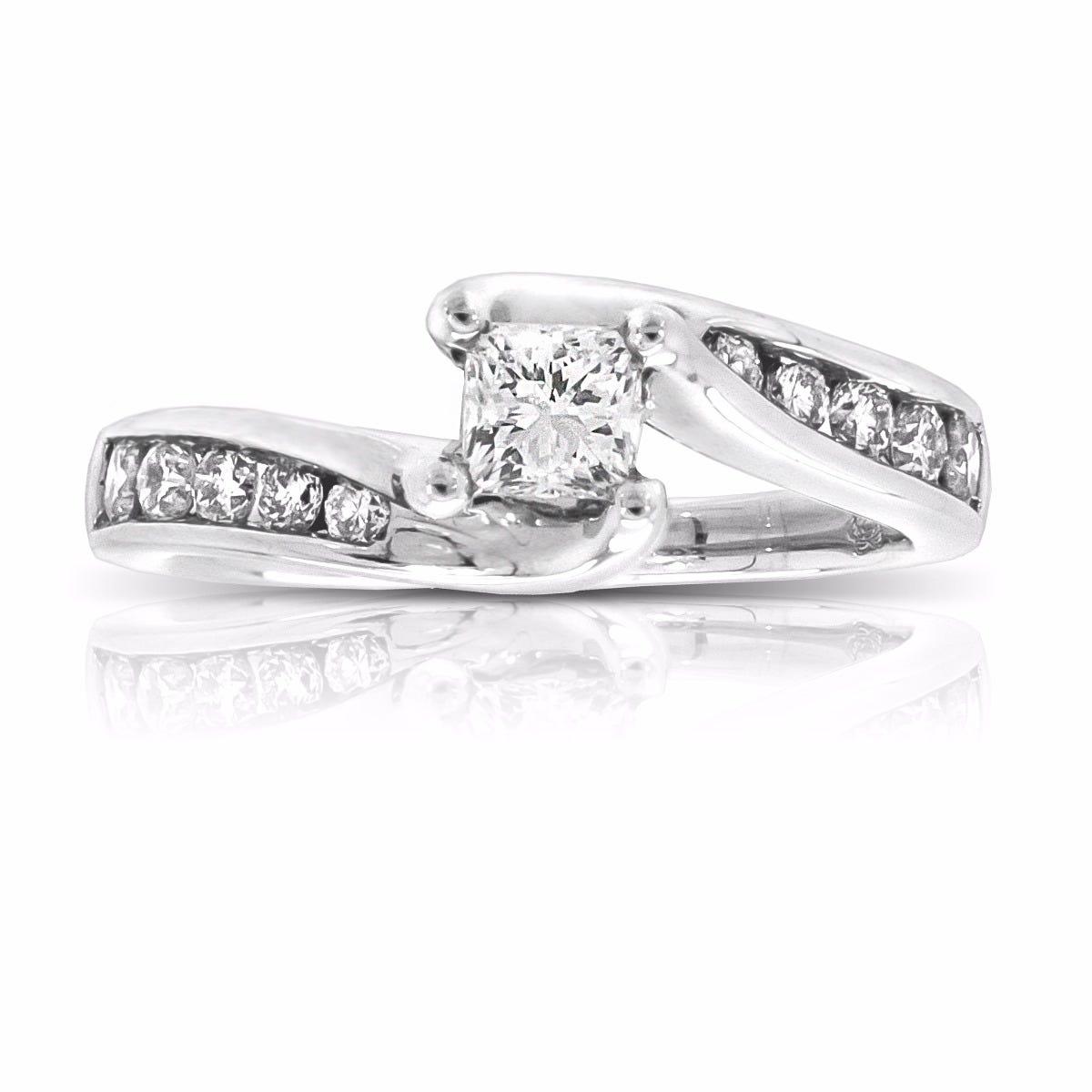 Yvette. Diamond Princess-Cut Engagement Ring in 14k White Gold