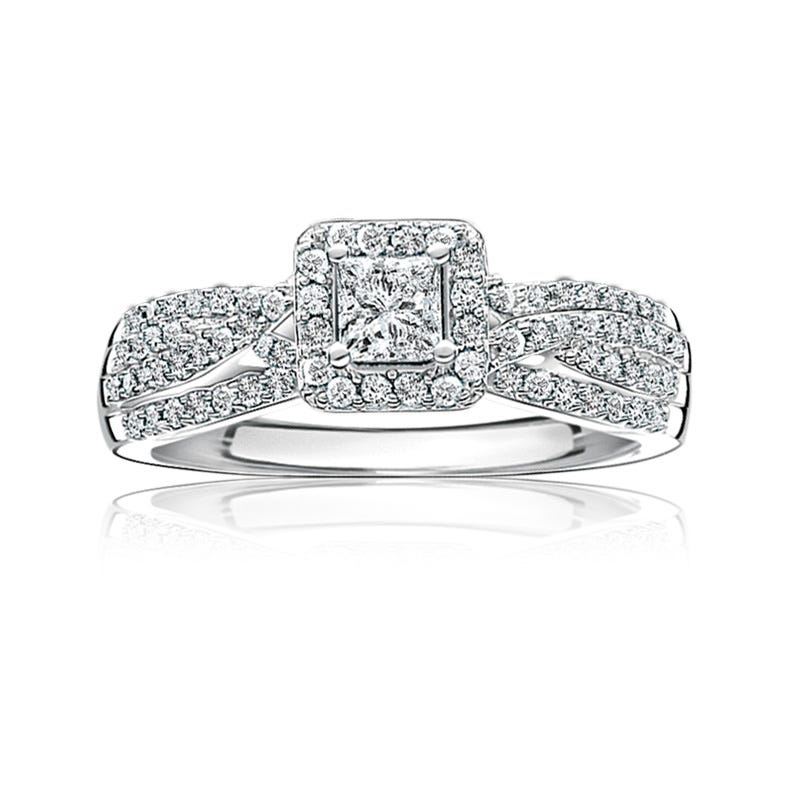 Kelly. Diamond 1/2ct. Princess-Cut Halo Pavé Engagement Ring in 14k White Gold