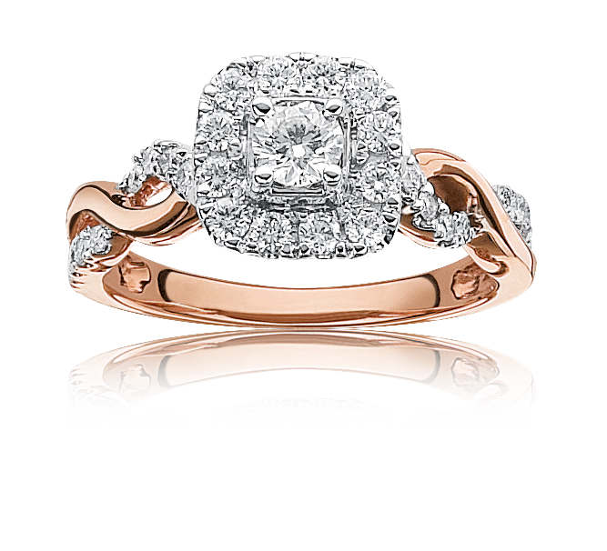 Sabrina. Diamond ¾ctw. Twist Halo Engagement Ring in 14k Rose Gold