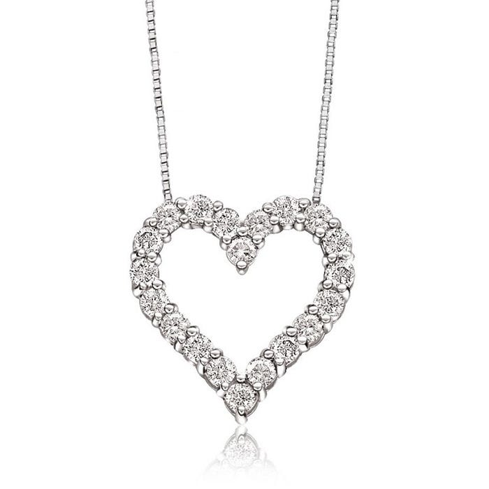 Diamond ½ctw. Heart Necklace in 10k White Gold