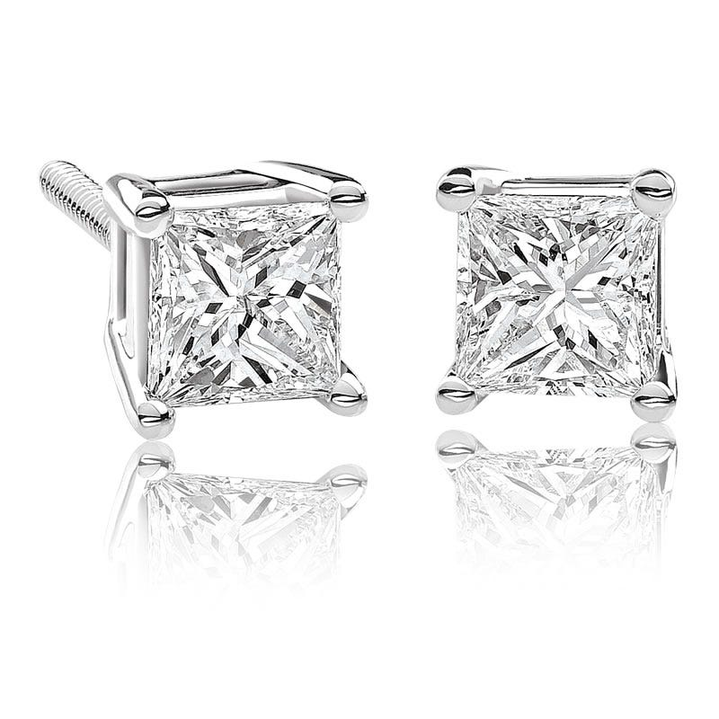 Canadian Diamond™ ¾ctw. Princess-Cut Diamond Earrings in 14k White Gold