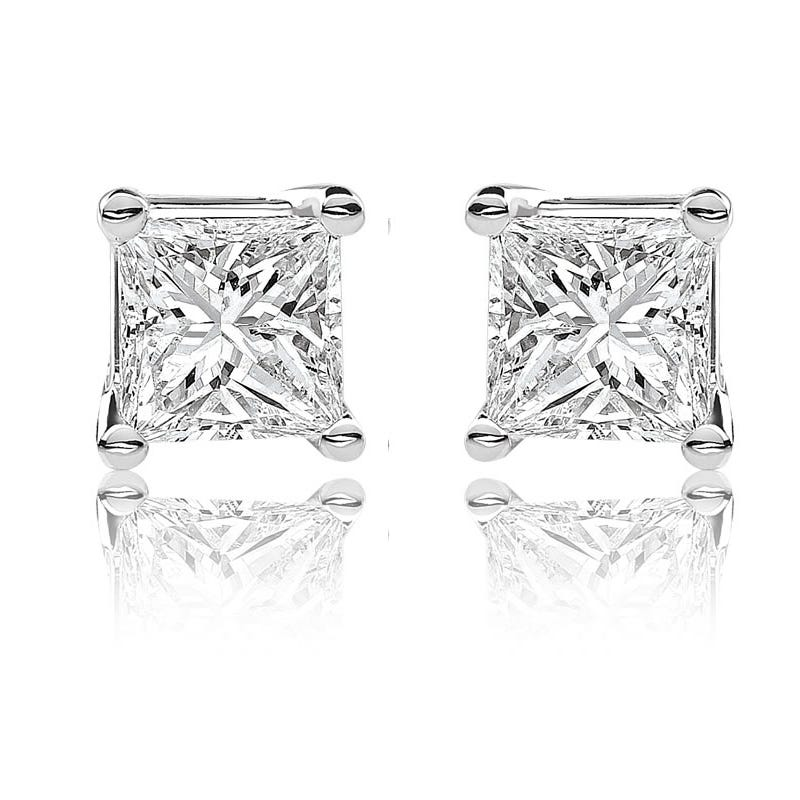Canadian Diamond 1ctw Princess Cut Earrings In 14k White Gold