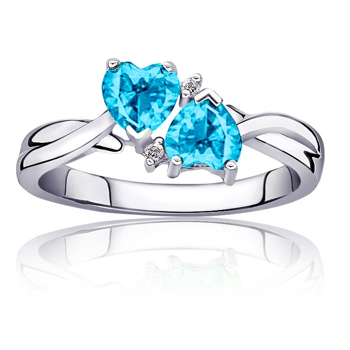 Blue Topaz Double Heart Diamond Ring in Sterling Silver