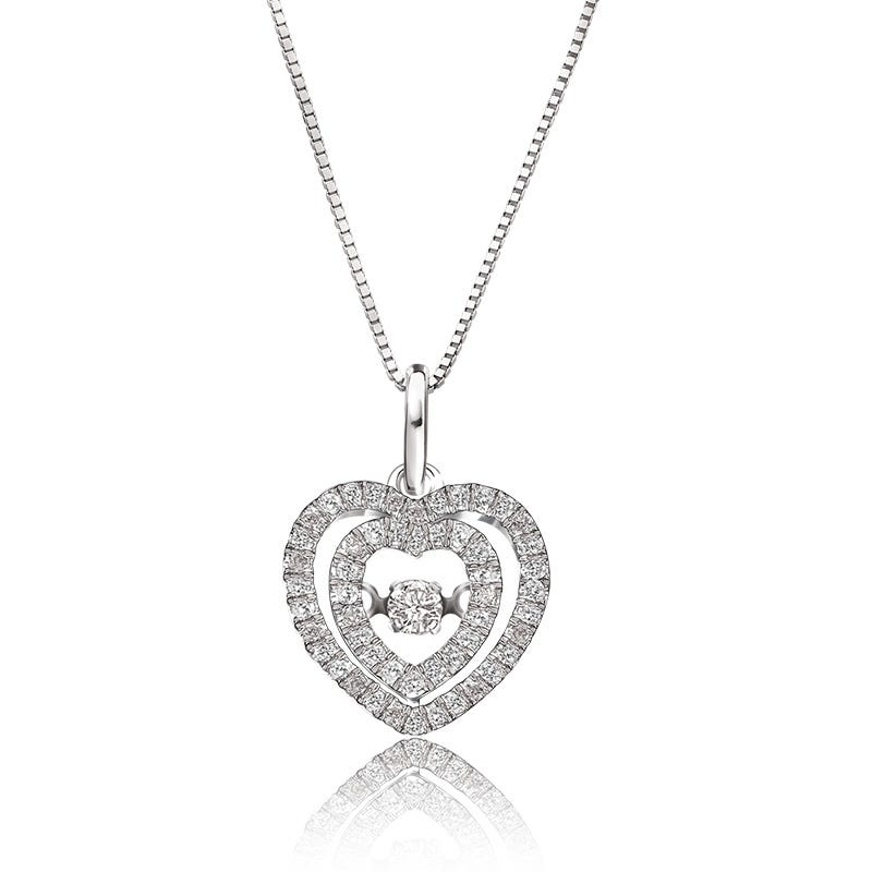 Beats of Love Diamond Double Heart Pendant in 14k White Gold