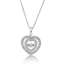 Beats of Love Diamond Double Halo Heart Pendant in 14k White Gold