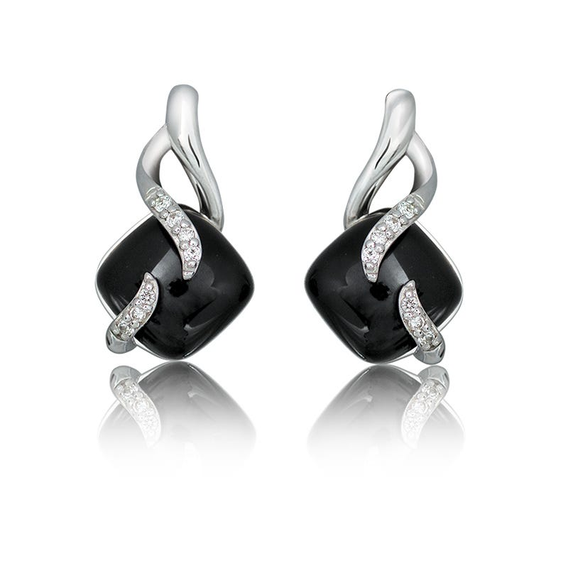 Diamond & Onyx Drop Earrings in Sterling Silver