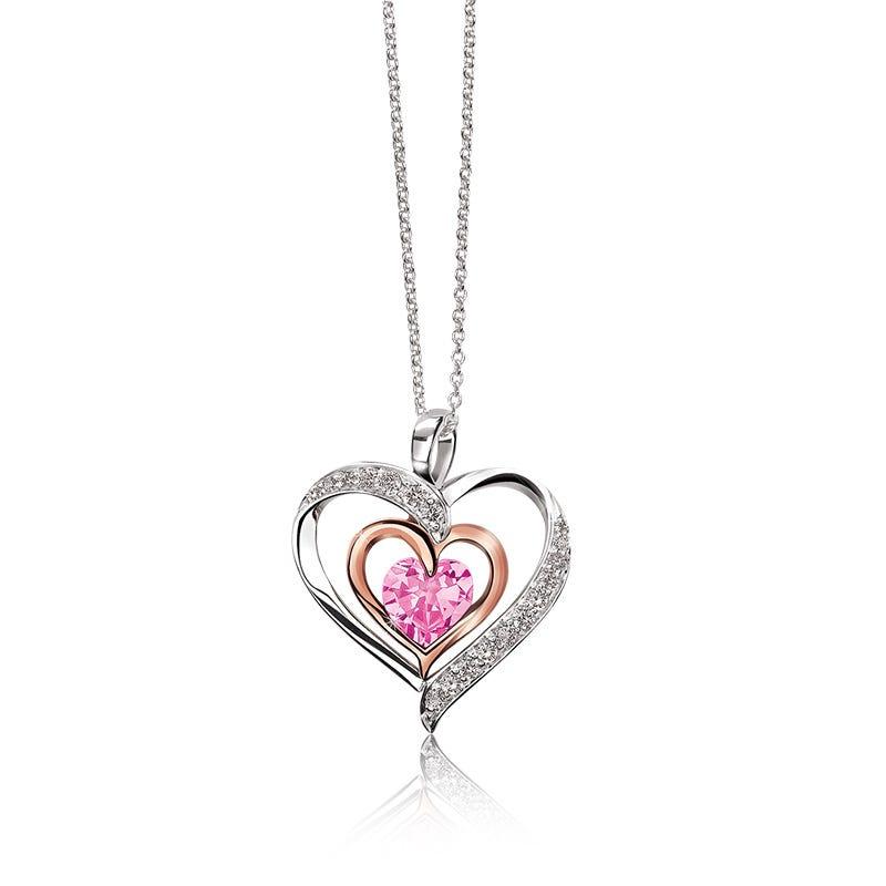 Triple Heart Pink Sapphire & Diamond Pendant
