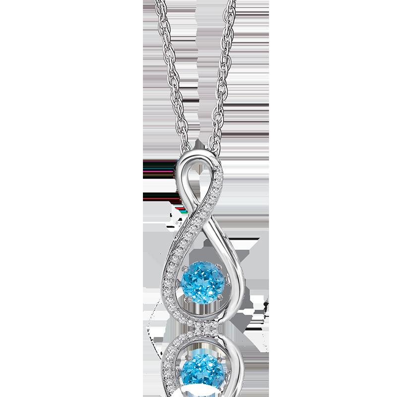 Beats of Love: Blue Topaz & Diamond Infinity Pendant in Sterling Silver