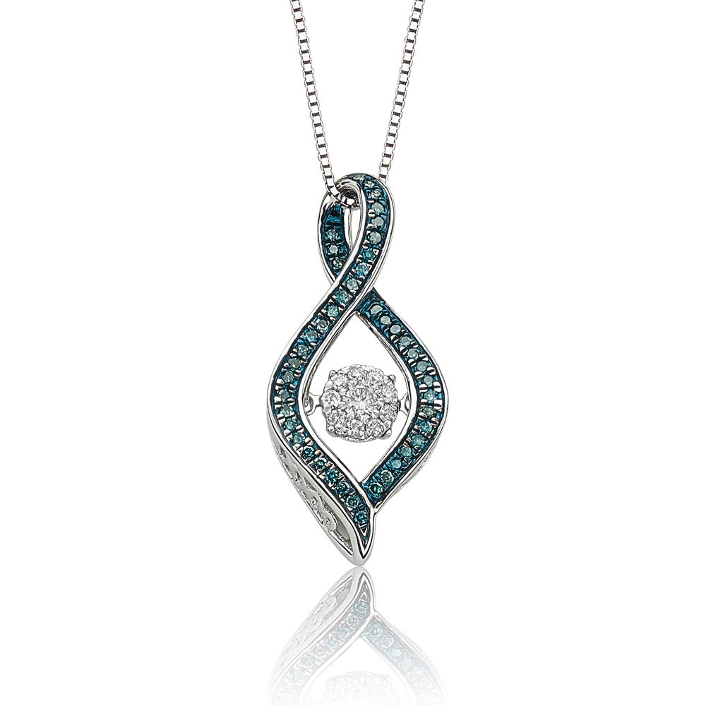 Beats of Love: Blue & White Diamond Twist Teardrop Pendant