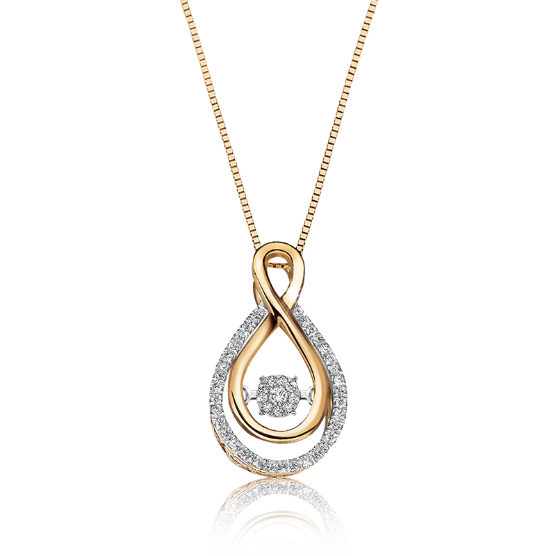 Beats of Love: Diamond Infinity Pendant in 10k Yellow Gold