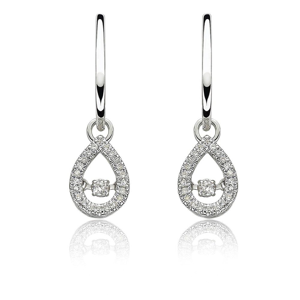 10K White Gold Black  Diamond Infinity Of Love Dangle Earrings