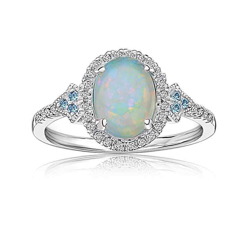 Oval Created Opal, Diamond & Blue Topaz Ring in 10k White Gold