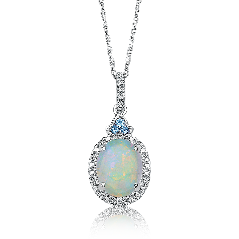 Oval Created Opal & Diamond Halo Pendant in 10k White Gold