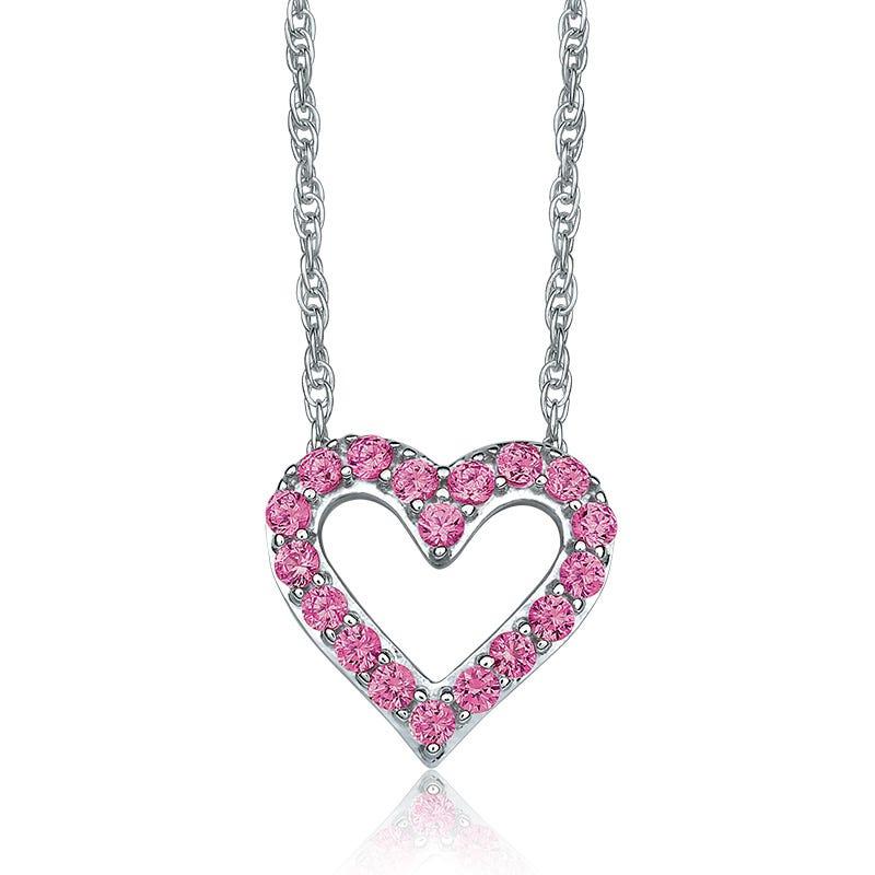 Pink Sapphire Open-Heart Pendant