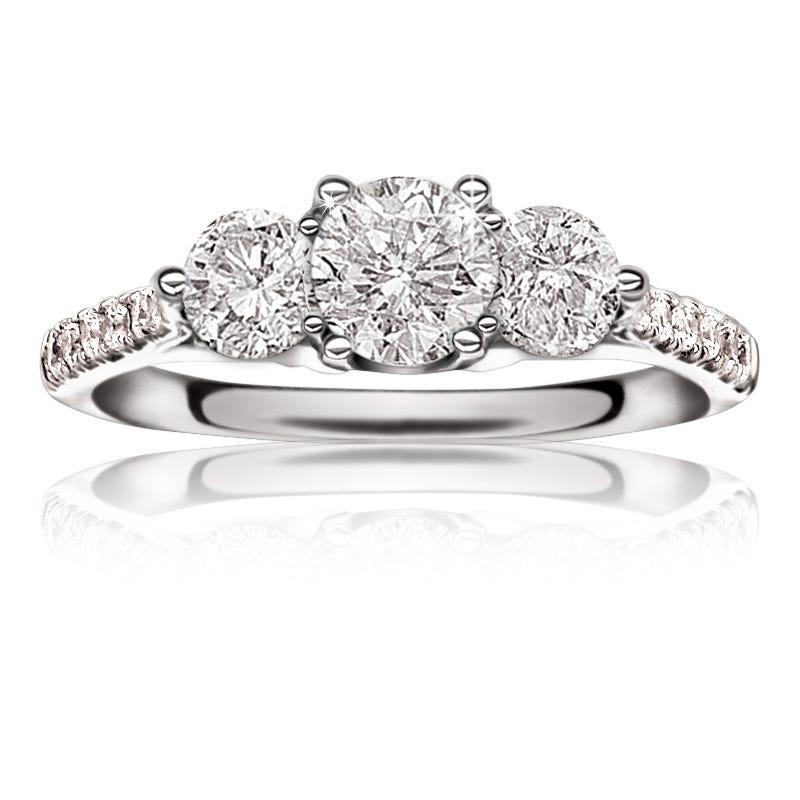 Canadian Diamond™ 1 1/4ctw. 3-Stone Diamond Engagement Ring 14k White Gold