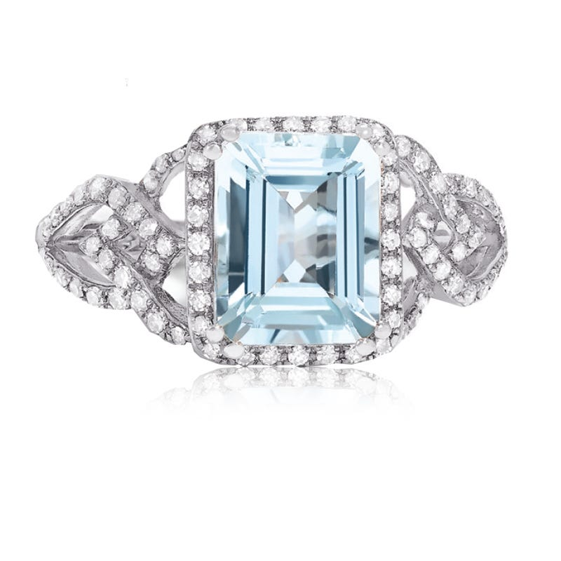EFFY Emerald-Cut Aquamarine & Diamond Cocktail Ring in 14K White Gold