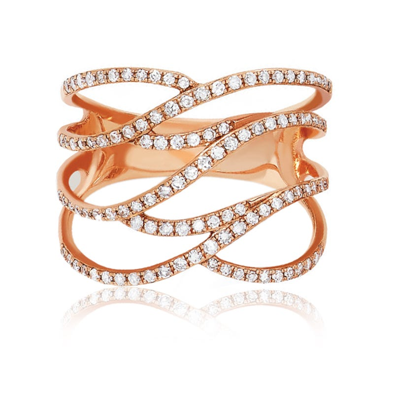 EFFY Pave Classica Round Diamond Ring in 14k Rose Gold