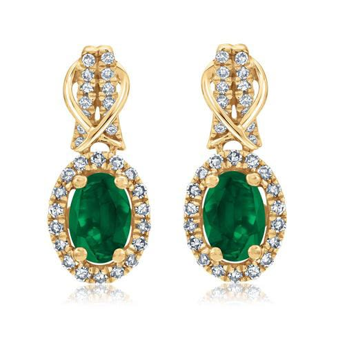 Emerald & Diamond Halo Drop Earrings in 10k Yellow Gold
