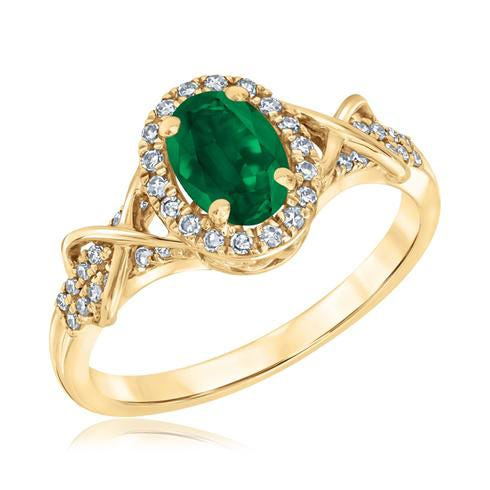 Emerald & Diamond Halo Ring in 10k Yellow Gold