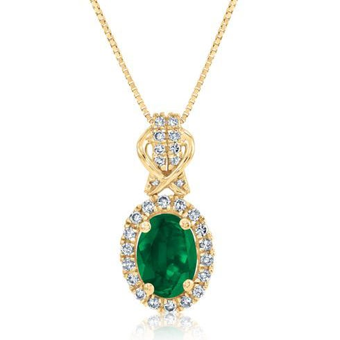 Emerald & Diamond Halo Pendant in 10k Yellow Gold