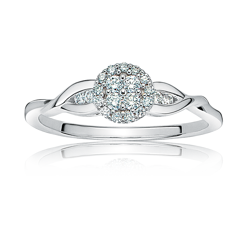 Diamond Round Cluster Promise Ring in 10k White Gold