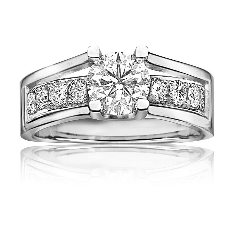 London. Diamond 1+ctw. Engagement Ring in 14k White Gold