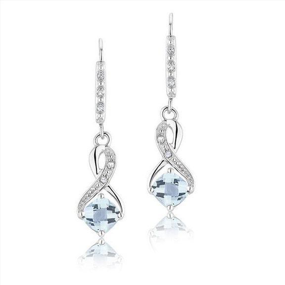 Earrings Silver Aquamarine