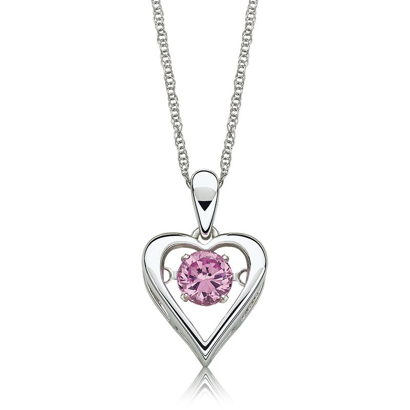 Pink Gemstone Beating Solitaire Heart Pendant in Sterling Silver