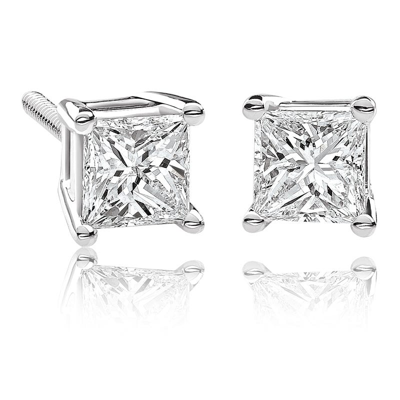 Canadian Diamond ⅓ct. tw. Princess-Cut Earrings in 14k White Gold