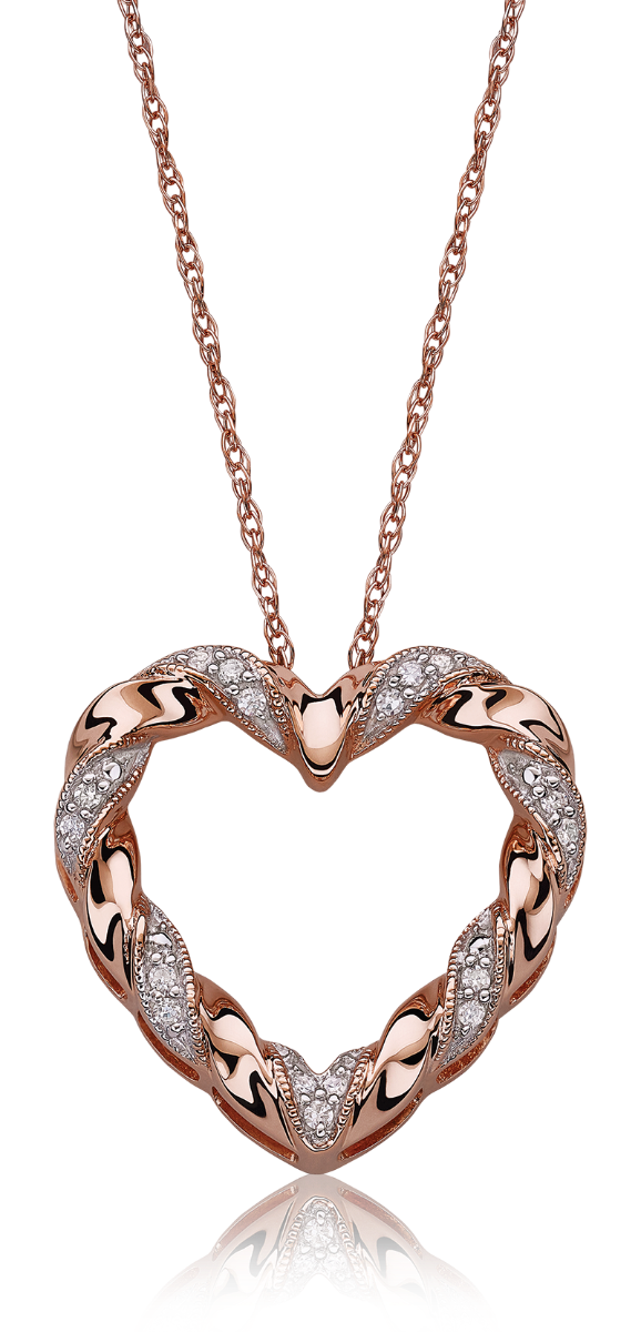 Diamond Heart Ribbon Twist Pendant 10k Rose Gold
