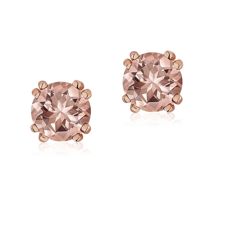 Morganite Stud Earrings in 10k Rose Gold