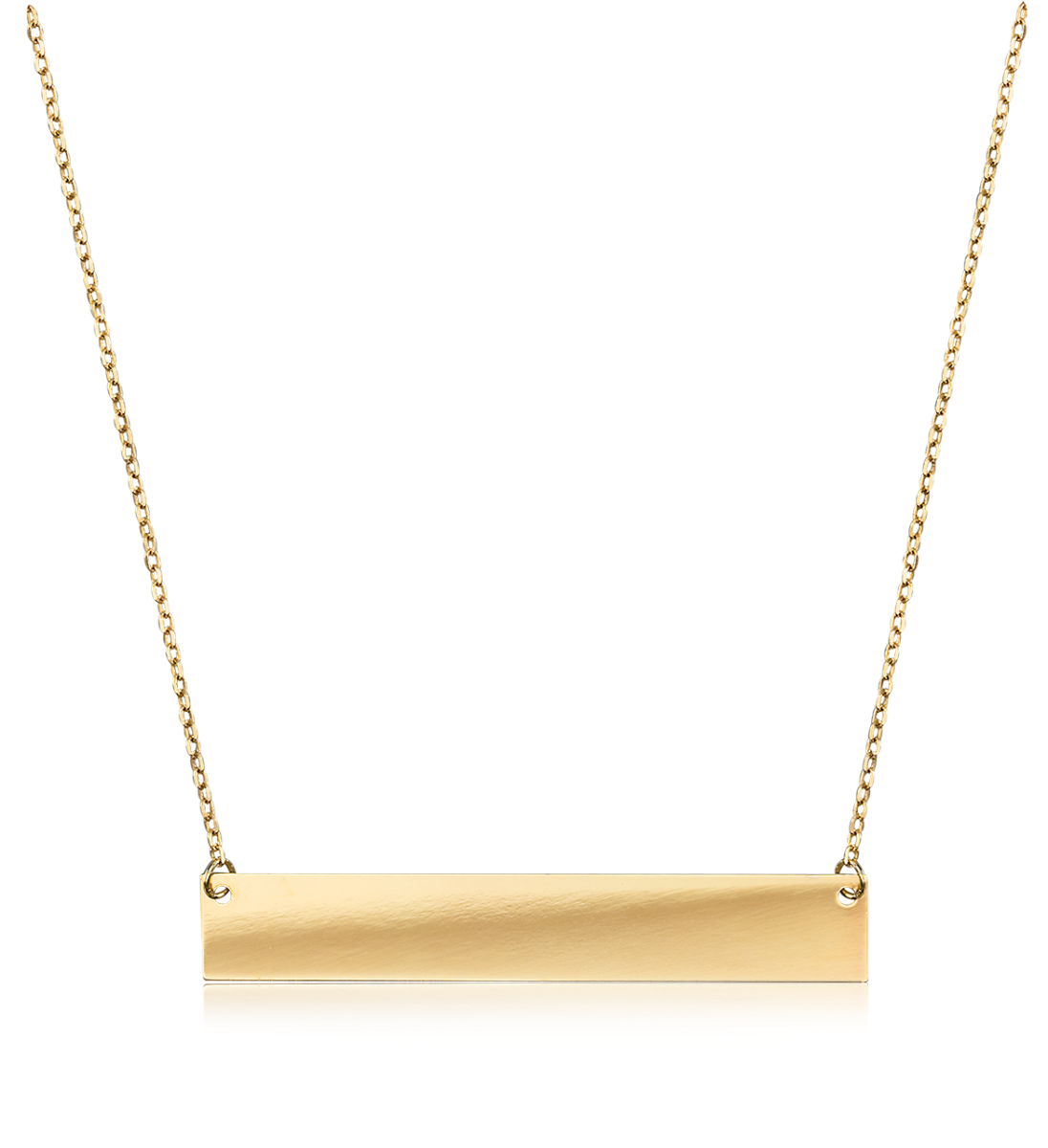 Gold Bar Engravable Necklace in 14k Yellow
