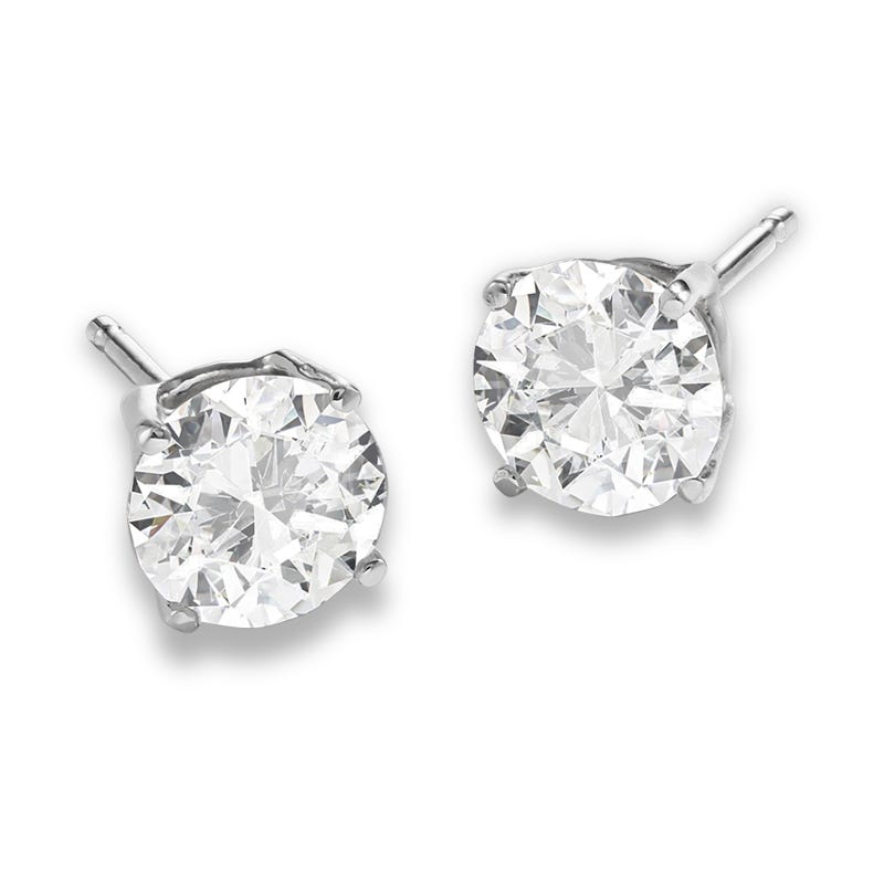 Lab Grown 1 1/2ct. Diamond Classic Round Solitaire Stud Earrings in 14k White Gold