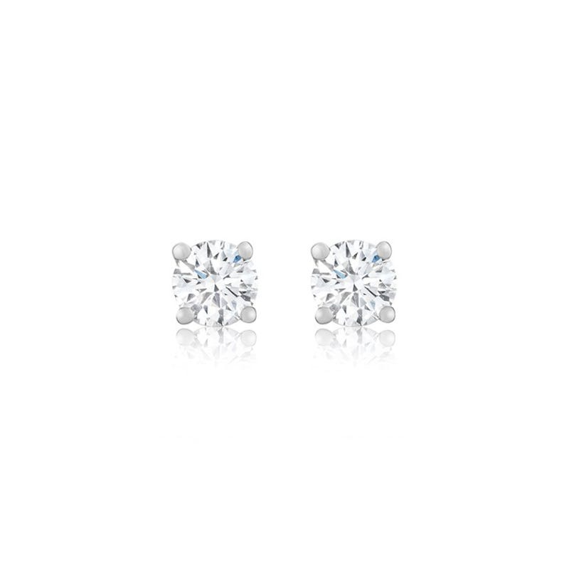 Lab Grown 1ct. Diamond Classic Round Solitaire Stud Earrings in 14k White Gold