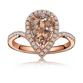 Morganite Pear-Shape Diamond Halo Ring in Rose Gold