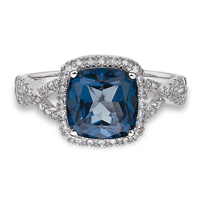 JK Crown® London Blue Topaz & Diamond Halo Ring in 10k White Gold
