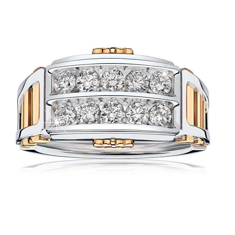 JK Crown® Men's 1ctw. Diamond Ring in White & Yellow Gold