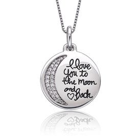 I Love You To The Moon & Back Script Diamond Pendant in Sterling Silver