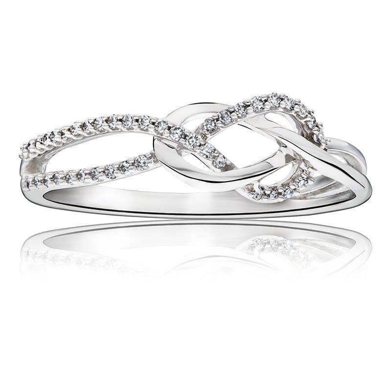 Diamond Loop Knot Promise Ring in 10k White Gold