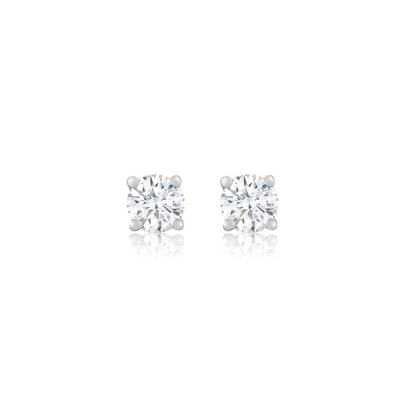 Lab Grown 3/4ct. Diamond Classic Round Solitaire Stud Earrings in 14k White Gold
