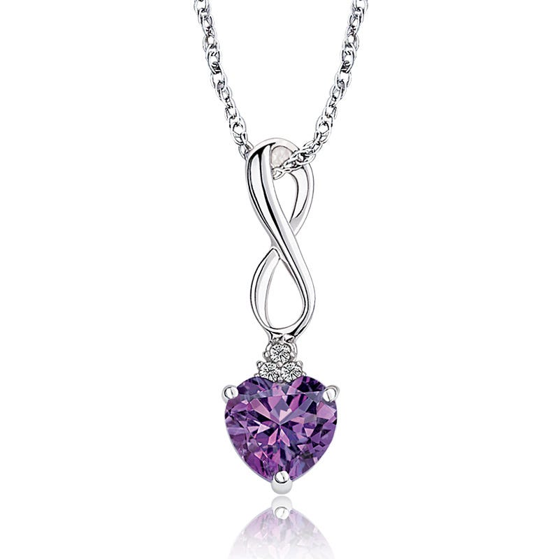 Amethyst Heart & Diamond Pendant in Sterling Silver