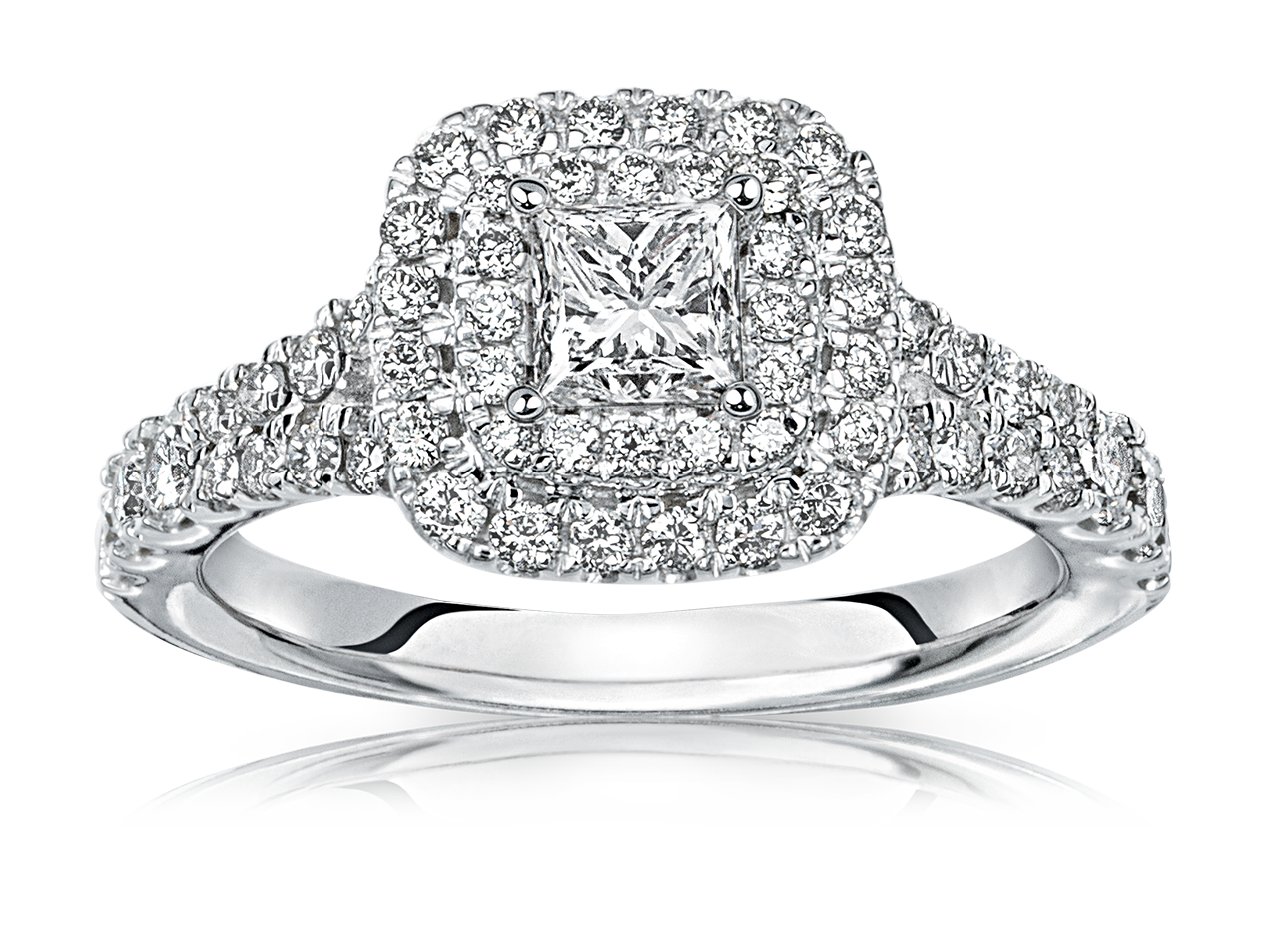 Delaney Princess Cut Double Diamond Halo Engagement Ring In 14k White Gold