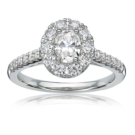 Giovanna. Oval Diamond Halo Pavé Engagement Ring in 14k Gold
