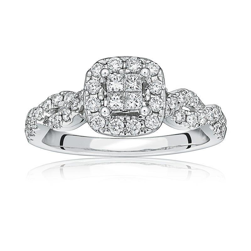 Calla. Princess-Cut Quad Diamond Twist Engagement Ring in White Gold