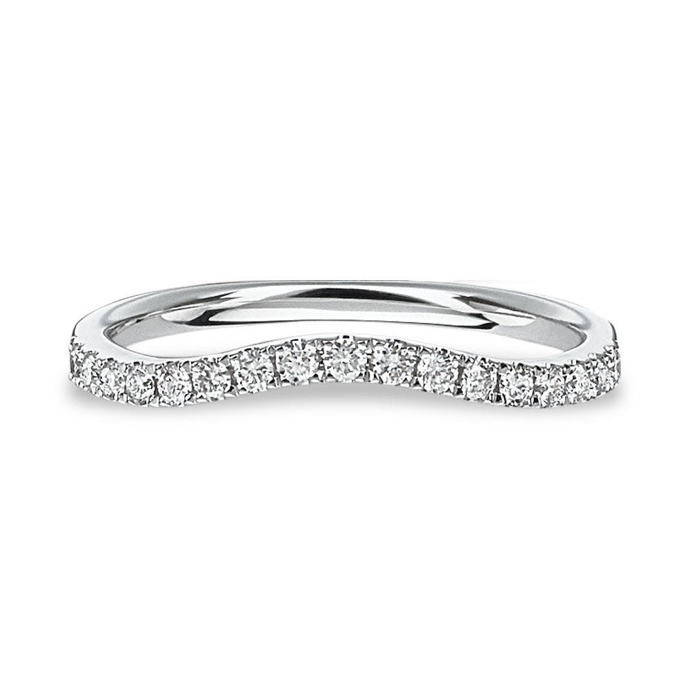 Ladies' Curved Contour Diamond Band in 14k White Gold