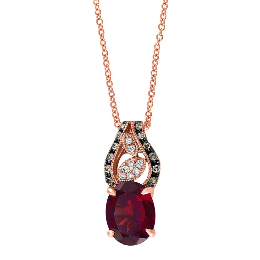 EFFY Oval Rhodolite Garnet & Espresso Diamond Pendant in 14k Rose Gold