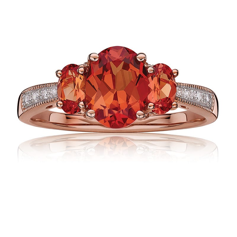 JK Crown® 3-Stone Oval Orange Sapphire & Diamond Ring
