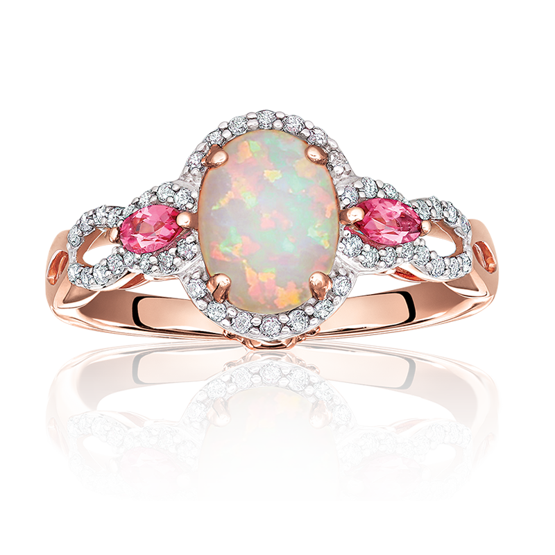 JK Crown® Oval Opal, Diamond & Pink Tourmaline Ring in Rose Gold