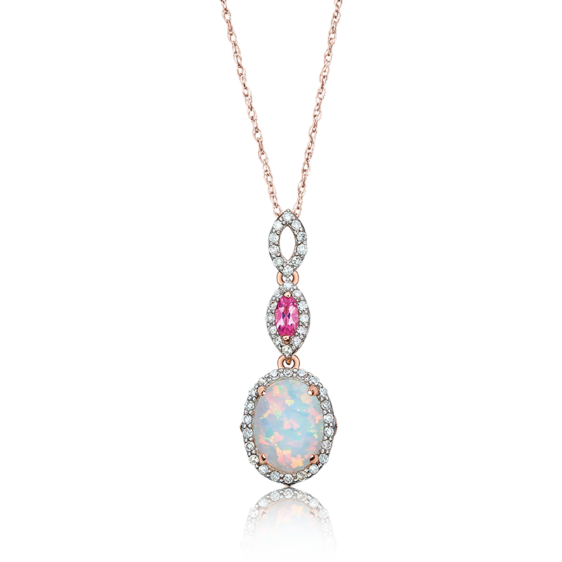 JK Crown® Oval Opal, Pink Tourmaline & Diamond Necklace in Rose Gold