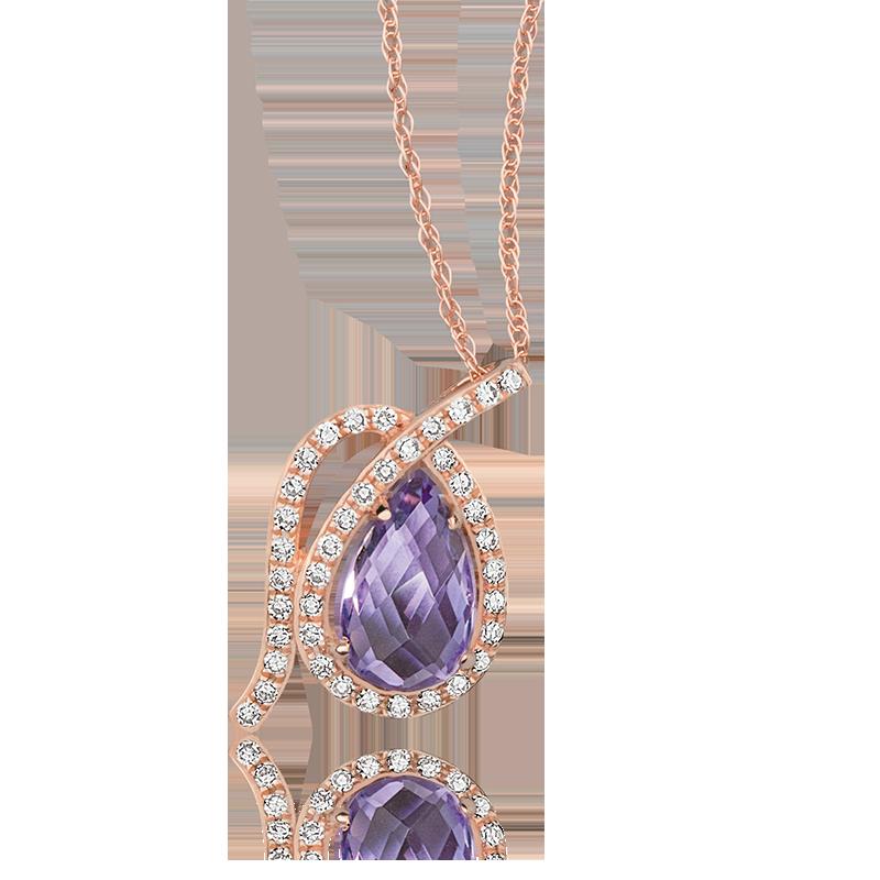 Pear Amethyst & Diamond Pendant in Rose Gold